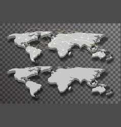 3d world map shadow light connections transparent vector image