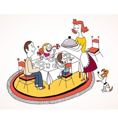 Family lunch vector