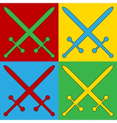 Pop art crossed swords icons vector