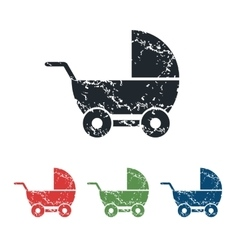 Pram grunge icon set vector