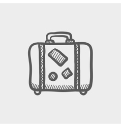 Travel luggage sketch icon vector