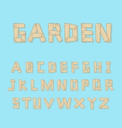 Hand drawn wooden alphabet - vector