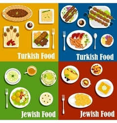 Jewish and turkish cuisine dishes set vector