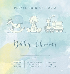 Watercolor baby boy shower card with retro toys vector