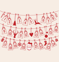 advent calendar with christmas bags set advent vector image vector image