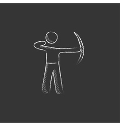 Archer training with bow drawn in chalk icon vector