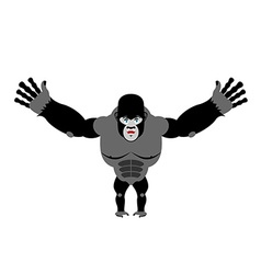 Cheerful gorilla spread his arms in an embrace vector