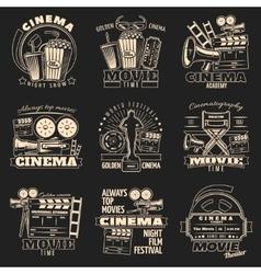 Cinema dark emblem set vector