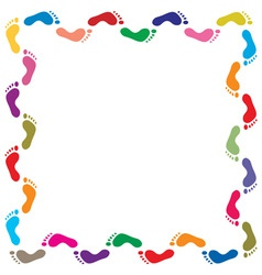 Colorful footprints border vector