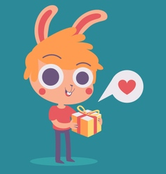 Cute Bunny Boy Holding a Present vector image