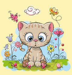Cute cartoon kitten vector