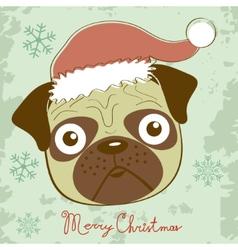 cute Christmas pug vector image