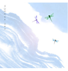Dragonflies in blue summer sky traditional vector