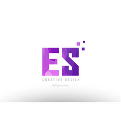 es e s pink alphabet letter logo combination with vector image vector image