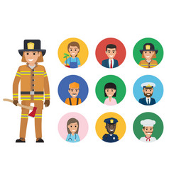 firefighter and set of people of different jobs vector image