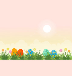 Flat of easter egg lined vector