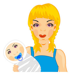 girl with child vector image vector image