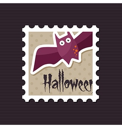 Halloween bat stamp vector