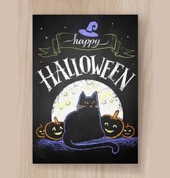 halloween postcard color chalked design vector image