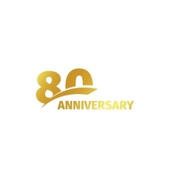 Isolated abstract golden 80th anniversary logo on vector image
