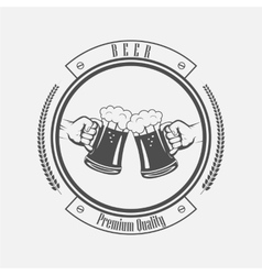 label the hand with a mug of beer vector image vector image