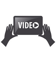 Logo view video in the hands vector