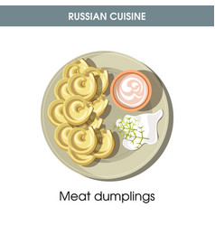 Meat dumplings with sour cream from russian vector