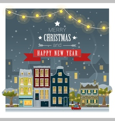 Merry Christmas and Happy New Year greeting card 5 vector image