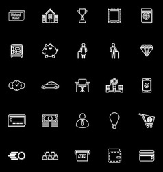 Personal financial line icons on black background vector image