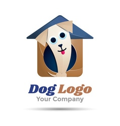 Pet dog shop volume logo colorful 3d design vector