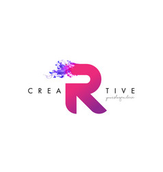R letter logo design with ink cloud flowing vector