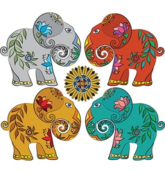 Set of 4 Indian elephants vector image vector image