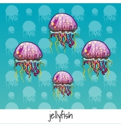 Set of spotted jellyfish with labeled vector