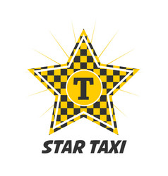 Star taxi logotype with checker in yellow and vector
