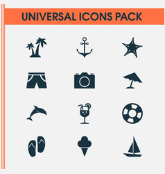 Sun icons set collection of star parasol mammal vector