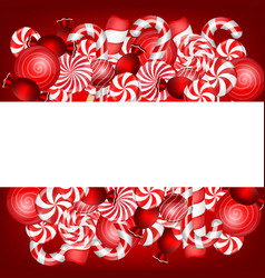 sweet banner with lollipop and candies cane vector image vector image