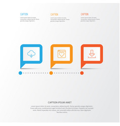 Web icons set collection of download down arrow vector
