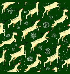 Winter seamless pattern with cute jumping deers vector