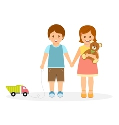 Boy and girl with toys vector