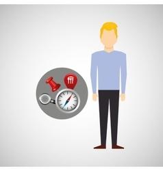 Man blond collection navigation elements concept vector