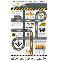 Road and traffic safety infographic design vector