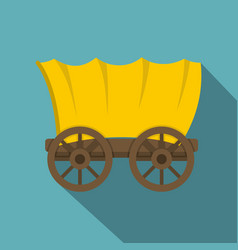 Ancient western covered wagon icon vector
