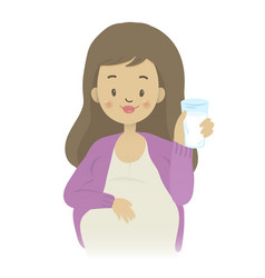 A pregnant woman holding a glass of milk vector