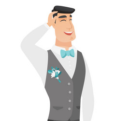 Young caucasian groom laughing vector