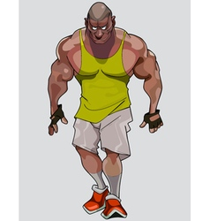Cartoon formidable muscular man in sportswear vector