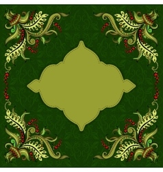 Card with hand-drawing ornaments and frame vector