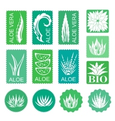 Aloe vera design elements stickers vector