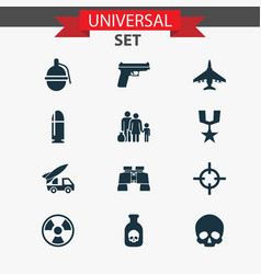army icons set collection of glass bombshell vector image