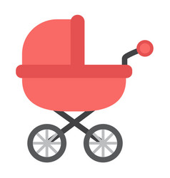 Baby carriage flat icon pram and pushchair vector