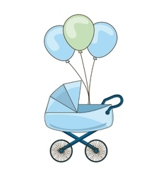 Baby cart with balloons party vector